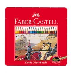 مداد رنگی جعبه فلزی تخت طرح کلاسیک فابرکاستل